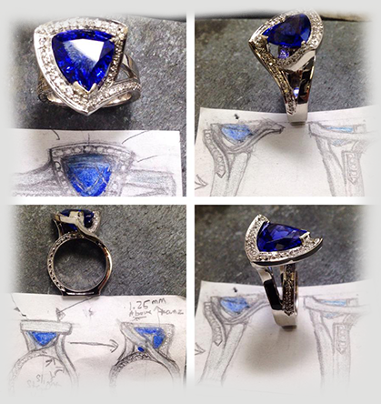 Example of jewelry design from idea, to paper, to an actual ring
