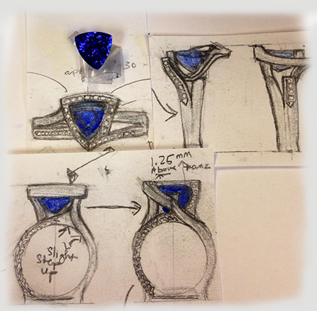 Hand drawn custom wedding ring design by Mauzie