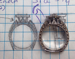 custom jewelry design on graphing paper
